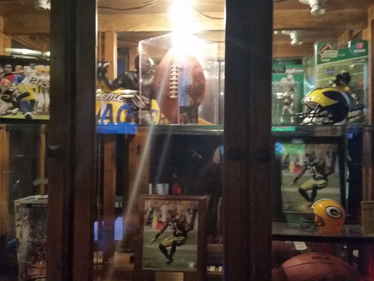 One of two trophy cases in Cover 2 Sports Bar and Lounge