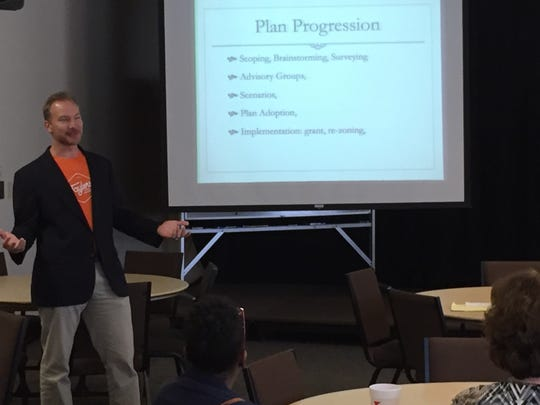 Scott Park discusses the developing Taylors Community Plan at a meeting of Taylors TownSquare.