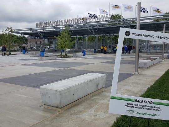 The new Gate 1 Plaza was a popular spot of selfies and group photos at the Angie's List Grand Prix of Indy.