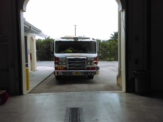 A fire truck is prepared for use by Hurricane Matthew first responders at Martin County Fire Rescue Station 16, Thursday.