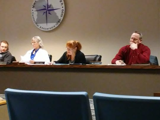 Councilwoman Sandra Hinkle (center) reads her resignation letter at a North York Borough Council meeting on Tuesday, Dec. 20. From left: Council Vice President Douglas Moore, Council President Vivian Amspacher, Hinkle and Councilman Bill Jackson.