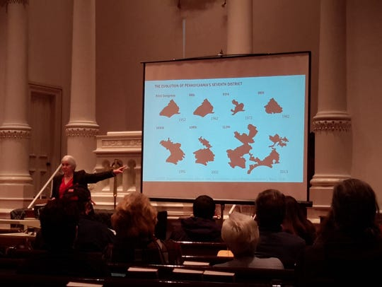 Fair Districts PA Chair Carol Kuniholm shows the evolution