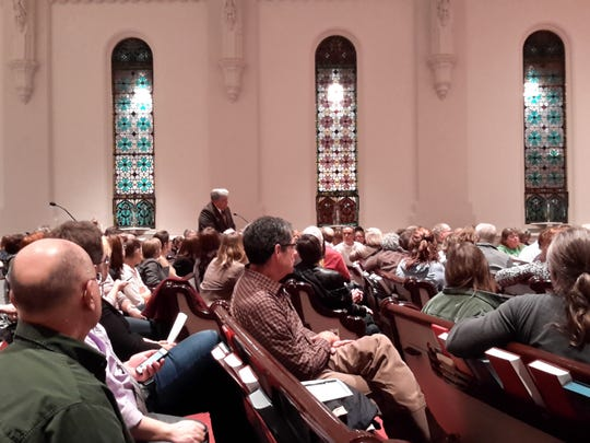 Cumberland County Commissioner Jim Hertzler (center) addresses a crowd of about 200 people at a gerrymandering discussion hosted in Harrisburg by Fair Districts PA. Monday, Feb. 27 (Photo: Jason Addy)