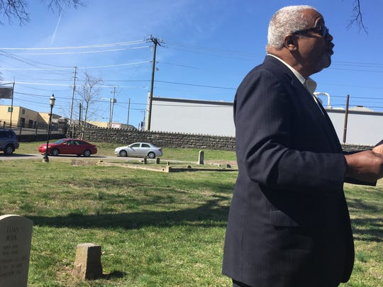 Dr. Herbert Lester of Clark Memorial United Methodist Church speaks at a dedication dedication Saturday, March 4, 2017, at Nashville City Cemetery.  Elias Polk, his wife Mary Polk and Matilda Polk have each received replacement tombstones.