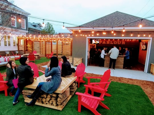 The beer garden and carriage house at Parlour pizzeria in Jeffersonville.