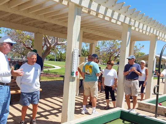 Marco Island and Isles of Capri bocce players mix up to form teams for their first get-acquainted games on Friday, April 7 at Mackle Park.