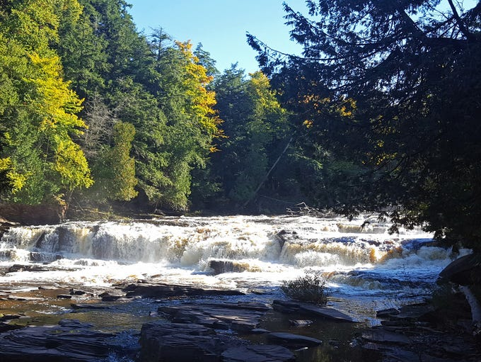 Nawadaha Falls drops 15 feet on the Presque Isle River