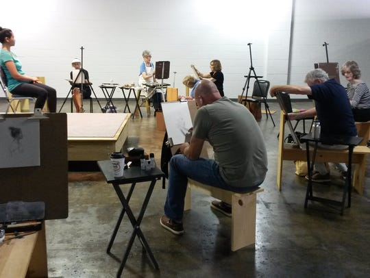 Artist's work during a figure drawing session at Gamut
