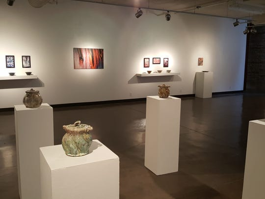"""Celebrating Mystery in the Microcosm"" at Brick City features Dick Lehman's beautifully glazed pottery alongside close-up photographs of small areas of their glazes."