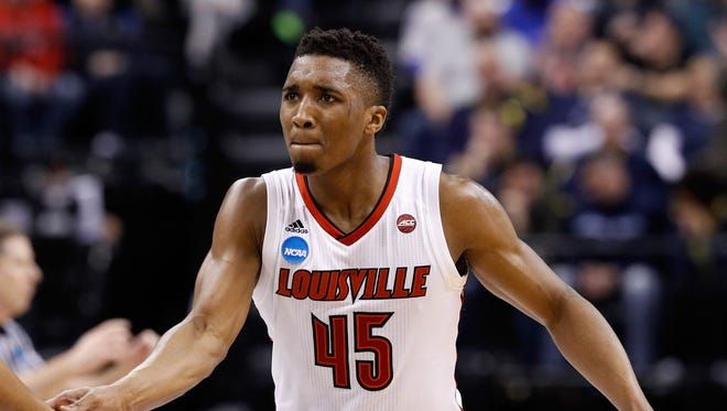 Louisville guard Donovan Mitchell plays against Jacksonville State during the first round of the 2017 NCAA tournament at Bankers Life Fieldhouse on March 17, 2017 in Indianapolis.