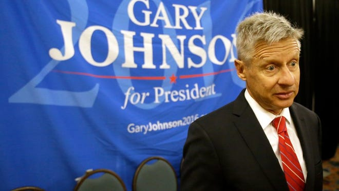 Libertarian presidential candidate Gary Johnson speaks to supporters and delegates at the National Libertarian Party Convention in Orlando, Fla.