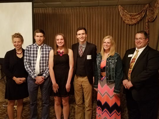 The 2017 Wisconsin Alumni Association Fond du Lac Chapter scholarship winners stand, from left: Alexia Rebne, WAA Scholarship committee; Jerard Stoegbauer; Kalista Hodorff; Grant Petik; Emily Franke; and Steve Leaman, WAA Chapter president. Not pictured: Brenna Wetherbee.