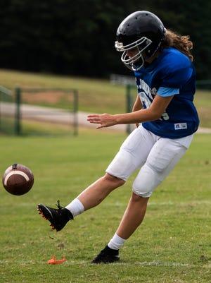 St. Joseph's senior Jane Cajka kicks the ball during practice on Friday, Aug. 4, 2017 at St. Joseph's Catholic School.