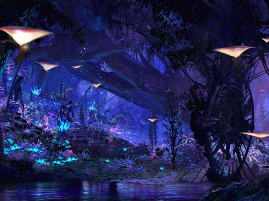 This undated image provided by Walt Disney World in Lake Buena Vista, Fla., shows a rendering of a water ride attraction, Na'vi River Journey. It's part of a new land at Animal Kingdom called Pandora: The World of AVATAR. Pandora is scheduled to open next summer.
