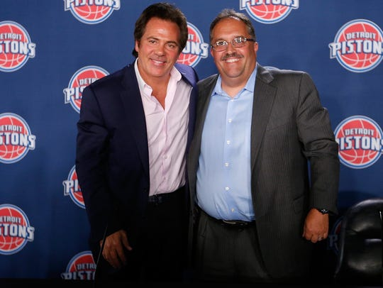 Detroit Pistons owner Tom Gores, left, and team president/coach