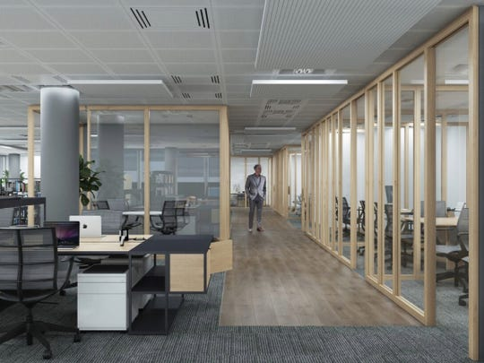 Interior renderings for Detroit FinTech Bay, FinTech Consortium's North American flagship location. Renovations for the coworking space will begin later this summer at 44 West Michigan Avenue, a former bank building.