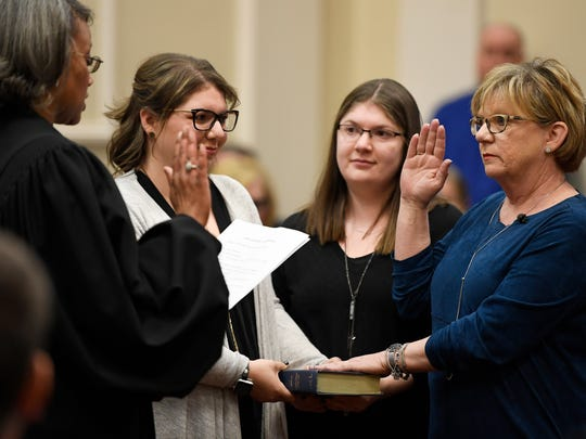 Sheri Weiner is sworn in as Nashville vice mayor Tuesday,