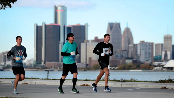 Marathoners run on Belle Isle during the 38th Annual Detroit Free Press/Talmer Bank Marathon.