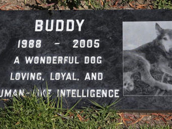 This photo shows a grave marker for Buddy a beloved family pet memorialized at the Los Angeles Pet Cemetery in Calabasas, Calif. Saying goodbye to a beloved dog or cat is hard. Despite many options, an estimated 70 percent of owners will leave the body with their veterinarian to dispose of.