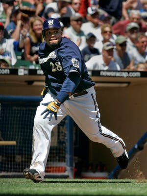 Milwaukee Brewers Prince Fielder  rounds third base for an inside the park home run in the fifth inning against the Blue Jays on June 19, 2008 at Miller Park.