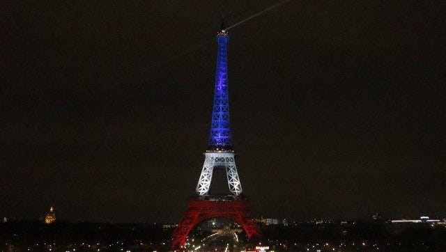 The Eiffel Tower in red, white and blue lights following the Nov. 13 terror attacks.
