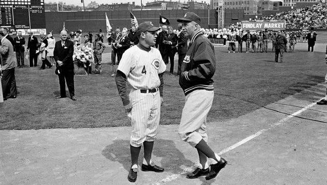 Dave Bristol, left, managed four different Major League Baseball teams.