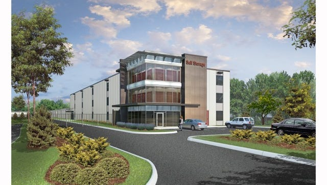A rendering of the self-storage facility planned at 2508 Dickerson Pike, next to Bellshire Pizza.