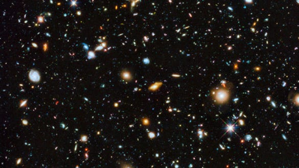 "The ""evolving universe"" (Source: NASA, ESA, H. Teplitz and M. Rafelski (IPAC/Caltech), A. Koekemoer (STScI), R. Windhorst (Arizona State University), and Z. Levay (STScI))"