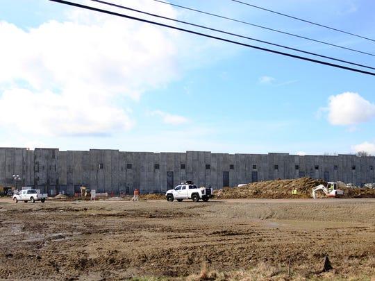 As work on an Amazon fulfillment center progresses