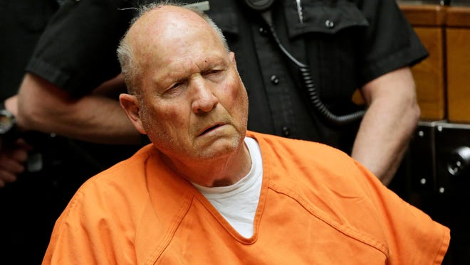 Joseph James DeAngelo, 72, who authorities suspect is the so-called Golden State Killer responsible for at least a dozen murders and 50 rapes in the 1970s and 80s, is pictured in Sacramento County Superior Court in Sacramento, Calif.