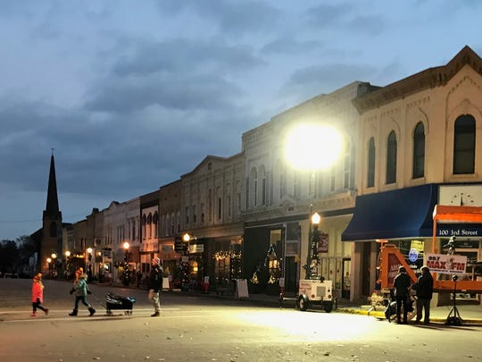 Downtown Baraboo at dusk, before the Christmas Light Parade.