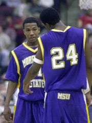 Marquis Sykes (left) with cousin Ricky Minard during their playing days at Morehead State. Both were teammates at Mansfield Senior as well.