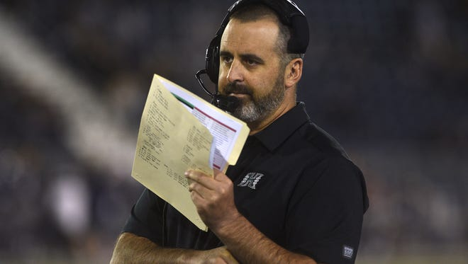 Hawaii head coach Nick Rolovich takes on Nevada during their football game at Mackay Stadium in Reno on Oct. 7,