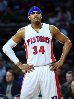 Feb 24, 2016; Auburn Hills, MI, USA; Detroit Pistons forward Tobias Harris (34) reacts during the first quarter against the Philadelphia 76ers at The Palace of Auburn Hills.