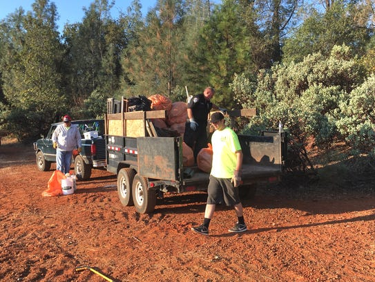 Trash from transient camps was collected Saturday morning