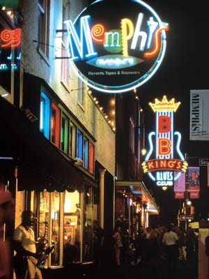 Beale Street at night in Memphis.