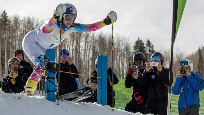Lindsey Vonn (USA) at the start of the EpicMix Racing pacesetter scoring race.  Pace setters from Vail Resorts all over the country come to compare their times to Vonn's.