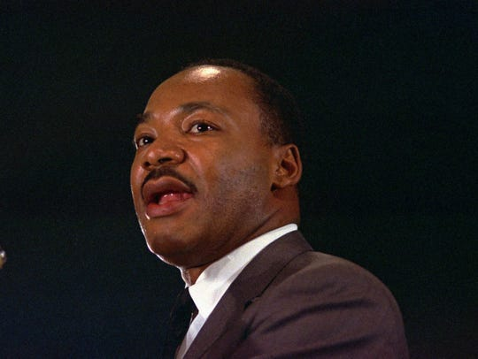 The Rev. Dr. Martin Luther King Jr. speaks at a peace