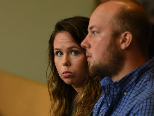 Kelsey McCarter waits in court with her husband, Justin, on May 5, 2016.