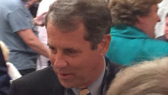 Ohio Senator Sherrod Brown speaks to Ohio delegates at the Democratic National Convention in July 2016.