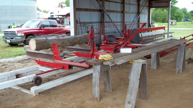 A log is in place in the sawmill ready for Lowell Gramling, Colona, to present a demonstration of how the log becomes lumber at the Fall Harvest Days planned forFriday, through Sunday, Sept. 18-20, by the Antique Engine & Tractor Association. Photo by Claudia Loucks
