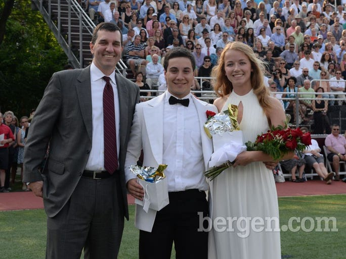 Principal Dr. Thomas Gorman with Irwin B. Somerville Award winners Tyler Porfido and Isabelle Stern