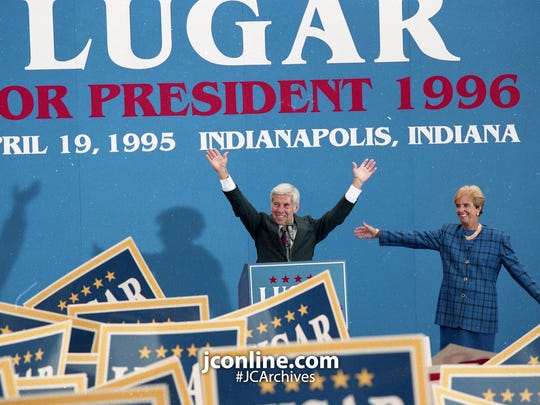 With buoyant juts and pop music filling the air, U.S. Sen. Richard Lugar returned to political home base to launch his life's biggest challenge: A run for the White House. Photo taken April 24, 1995.