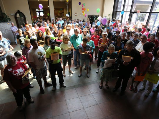 The Black Lives Matter march started at First Unitarian Universalist Church in Wausau, Sunday, May 3, 2015, went through downtown Wausau and ended at Grace United Church of Christ on Third Avenue.