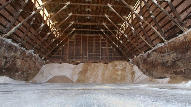The seemingly endless parade of winter storms has almost emptied the salt barn at the Monmouth County Department of Public Works in Freehold, N.J. The county is mixing salt and sand to stretch salt supplies.