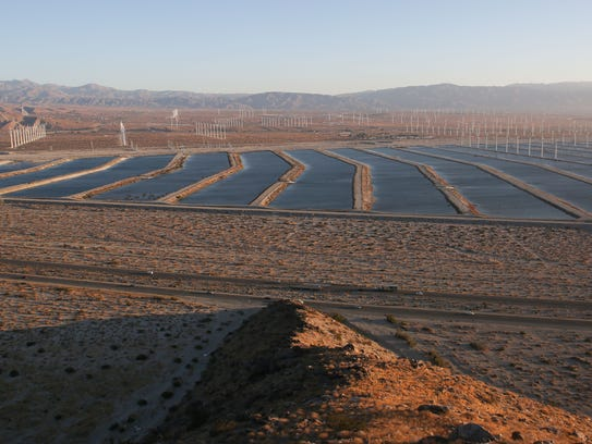 The ponds at the groundwater replenishment facility on the outskirts of Palm Springs are filled with Colorado River water.