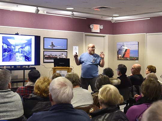 George Oram talked about his life on the Great Lakes as a cook aboard the Inland Steel (Co.) fleet during the Door County Maritime Museum's Maritime Speakers Series on Thursday.