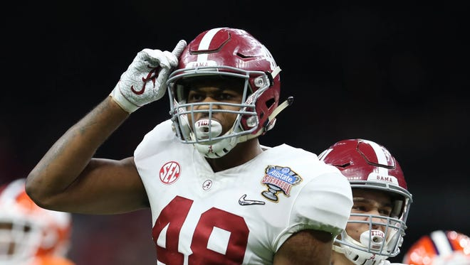 Alabama linebacker Mekhi Brown drew attention to himself during the national championship game when he attempted to attack a Crimson Tide assistant coach.
