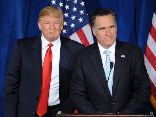 Donald Trump and Mitt Romney in Las Vegas in 2012.