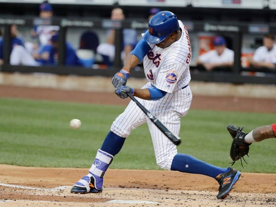 Curtis Granderson hit an RBI ground-rule double in the first inning of the Mets' game against the Angels Friday night at Citi Field.